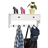 SoBuy® FRG178-W, White Wall Display Storage Unit with 2 Drawers & 5 Hooks, Wall Coat Rack Kitchen Cupboard