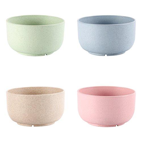 UPSTYLE Healthy trigo paja plástico sopa de fideos Bowl cuenco de arroz para niños apoyo microondas (4unidades, tamaño 4,5pulgadas)