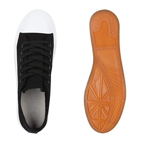 Komfortable Damen Basic Sneakers Low Helle Sohle Schnürer Schwarz Weiss