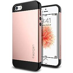 Spigen Coque iPhone Se, Coque iPhone 5S / 5 [Slim Armor] Coussin d'air [Rose Gold] Coussin d'air aux Coins/La Protection de Double Couche Coque Apple iPhone 5S / 5 / Se (041CS20176)