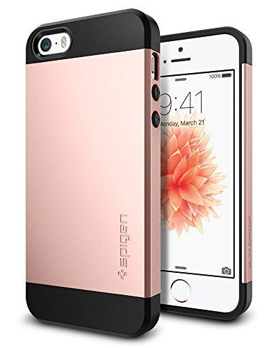 iPhone SE Hülle, Spigen® iPhone 5S/5/SE Hülle [Slim Armor] Dual-Layer Schutz [Rose Gold] Luftpolster-Technologie an den Kanten / 2-teiliges Case Schutzhülle für iPhone SE, iPhone 5S, iPhone 5 - Rose Gold (041CS20176)