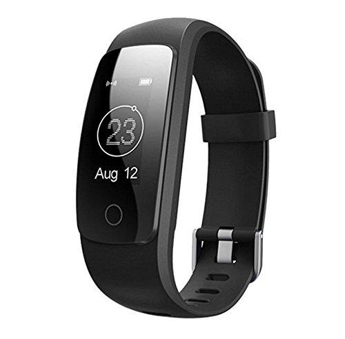 I FIT iFit Neuesten id107plus Smart Herzfrequenz Wasserdicht Schrittzähler Activity Tracker Fitbit Stil Armbanduhr für Android/iOS, Schwarz