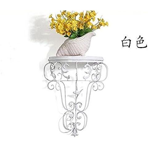 Continental Flor de hierro forjado estanterías de chapa de hierro para colgar en la pared Pot estanterías estanterías colgantes balcón blanco de partición