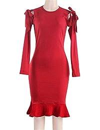 Vestidos Mujer Peplum Vestido Primavera Otoño Sexy Manga Larga Dress Ajustado Elegante Cuello Redondo Alta Cintura