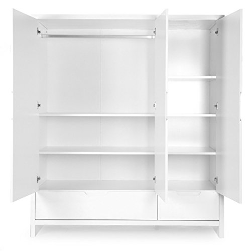 Child Home Designer Bedroom Cabinet 100% Melamine, 3 Compartments, 161 x 58 x 185 cm, White 3 horses