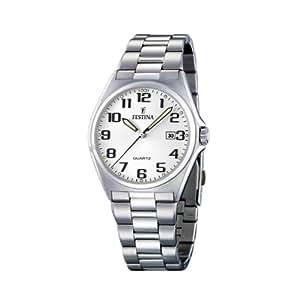 Festina - F16374-9 - Montre Homme - Quartz Analogique - Cadran Blanc - Bracelet Acier Argent