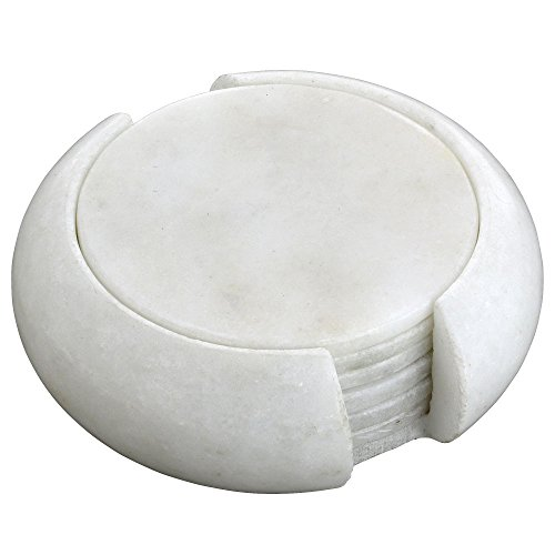 handmade-indian-white-marble-stone-drink-coaster-set-includes-6-round-coasters-and-matching-holder-h
