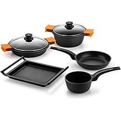 Bra Efficient - Batería de cocina 5 piezas antiadherente apta para todo tipo de cocinas incluso inducción, incluye libro con 40 recetas