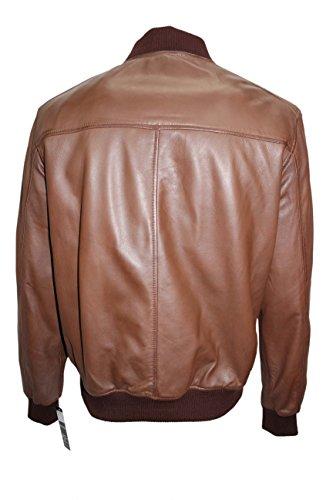 1229 70 Retro- BOMBER Herren Tan Classic Soft Nappa -Lederjacke Italienisch Brown