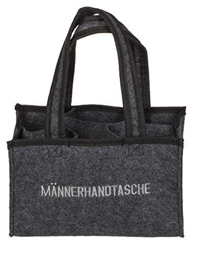 mucplants Männerhandtasche Bier Herrenhandtasche aus Filz mit 6 Fächern für Bierflaschen, grau