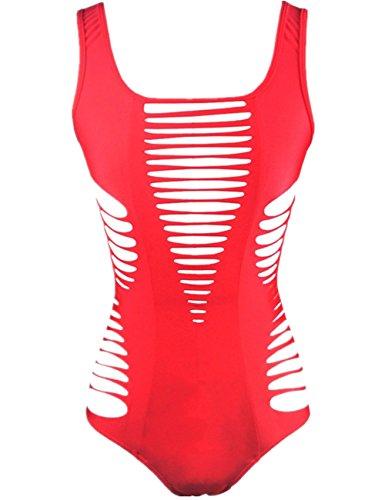 Aidonger Donne costume da bagno Halter di un pezzo Bikini Backless S-XL rosso