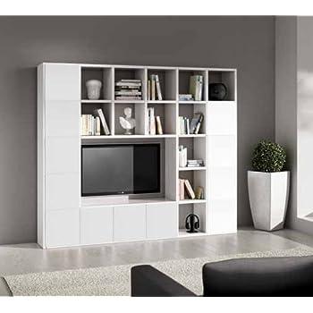 Legno&Design Parete attrezzata porta tv libreria bianco frassinato ...