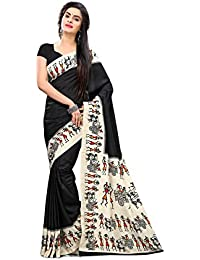 Miraan Women's Art Silk Saree With Blouse Piece (Vi2953,Black,Free Size)