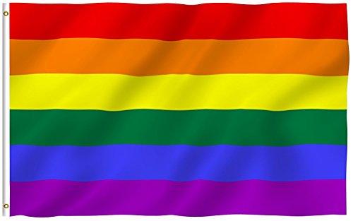 Iron Shirt Aufkleber (efanr groß Rainbow Flagge 3x 5Fuß mit genähter Streifen-Colorful Polyester UV-geschützt, LGBT/Gay Pride Banner Flaggen Home Dekoration)