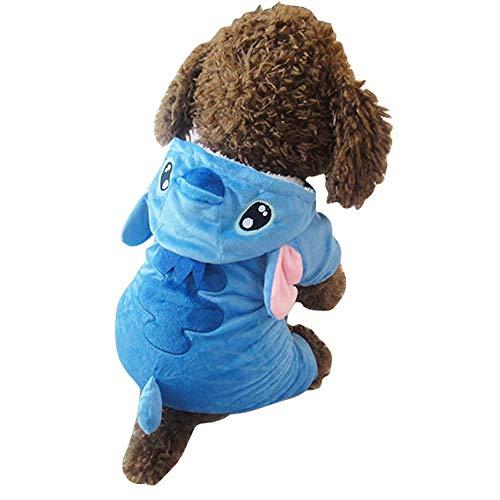 Kostüm Kapuzen Disney - PET Schwamm-niedlicher Blauer Stich drehte Haustiere Frühling und Herbst-lustige Hundekleidung Costume Pet Kleidung für kleine Hunde (Farbe : Blau, größe : S)