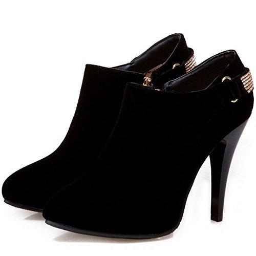 COOLCEPT Femmes Mode Bottines Cheville Aiguille Avec Fermeture Eclair Black