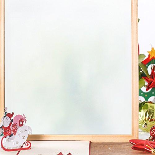 Homein Fensterfolie Milchglasfolie Sichtschutzfolie Klebefolie Selbstklebend Fenster Sichtschutz Blickdicht für Bad Duschwand Dusche Folie Ohne Kleber Anti UV mit Motiv Muster Weiß Matt 44.5 x 200 cm