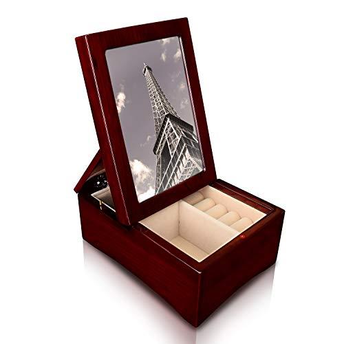 Ikee Design Holz glänzend Palisander Musical Jewelry Box mit hochklappbaren 4x 6Foto Rahmen
