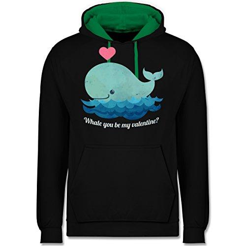 Romantisch - whale you be my valentine? - Kontrast Hoodie Schwarz/Grün