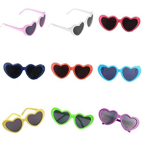 Fenteer 9 Paar Herzförmig Puppen Brillen Gläser Sonnenbrillen Puppenzubehör Für 18 Zoll Mädchen Puppen Dress Up