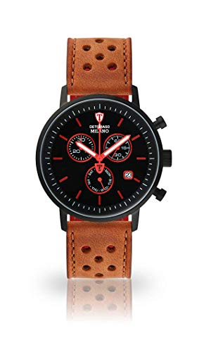 DETOMASO Milano Mens Wristwatch Chronograph Analogue Quartz Light Brown Racing Leather Strap Black dial DT1052-M-838