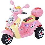 HOMCOM Moto Scooter Véhicule Electrique pour Enfant 6V 3KM/H Musique et Lumières 108 x 51 x 75cm Rose