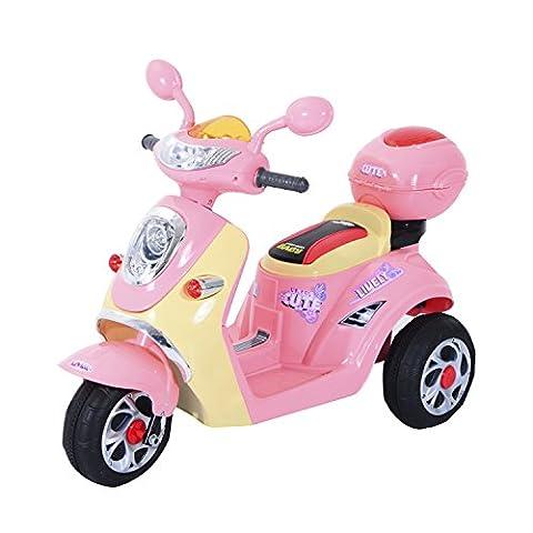 HOMCOM Moto Scooter Véhicule Electrique pour Enfant 6V 3KM/H Musique et Lumières 108 x 51 x 75cm