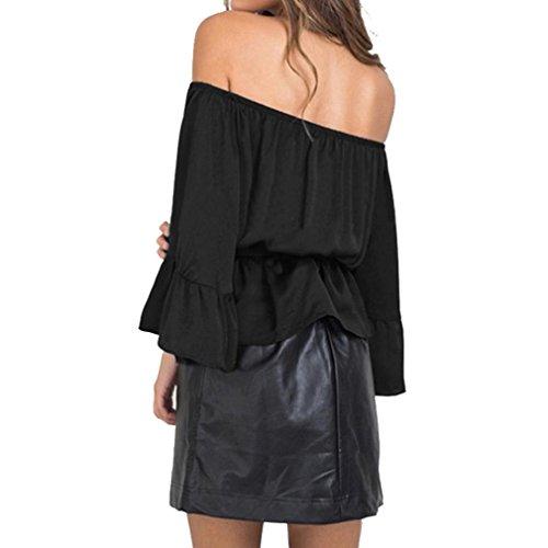 Transer ® Chemisier Femme,Femmes Sexy Encolure Hauts plissé Bow Blouse manches chauve-souris Rose/Noir(M-XL) Noir