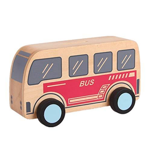 KOMEISHO EIN Stück LKW Bus Jeep Design Holz Sparschwein Spielzeug Für Kinder Geldeinsparung Münze Box Dekoration Handwerk (Farbe : Bus)