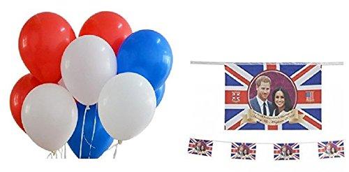 Prinz Harry & Meghan Markle Gedenk Königliche Hochzeit 2018 Bunting & Set von 30 roten, weißen und blauen Ballons
