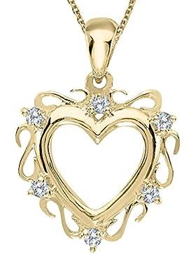 14K Gelbgold Diamant Herz Anhänger
