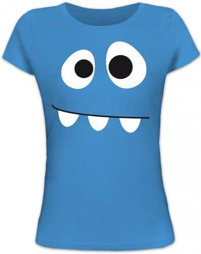 Shirtstreet24, MONSTER, Karneval Fasching Kostüm Lady / Girlie T-Shirt Fun Shirt, Größe: L,blue lagoon