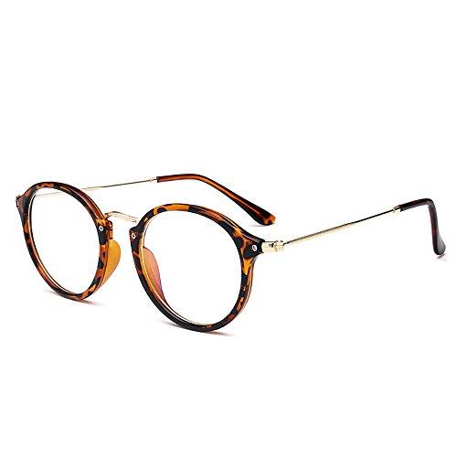 Skitic Retro Rund Brillen Nerdbrille Transparent Gläser Damen / Herren Brillen (Leopard)