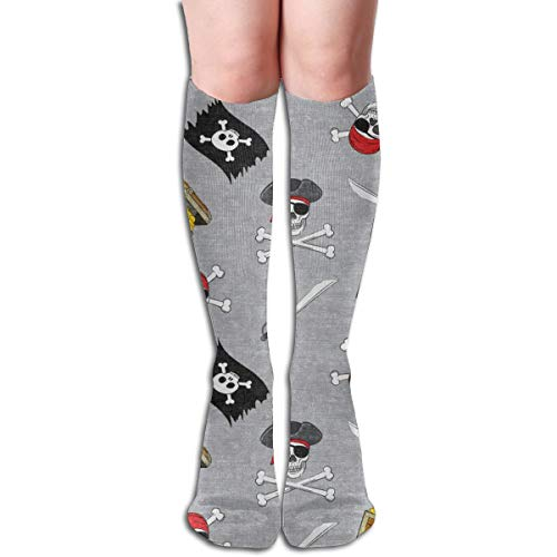 Women's Fancy Design Stocking (small Scale) Pirate Medley - Grey - LADBS Multi Colorful Patterned 50CM(19.6Inchs) Knee High Socks