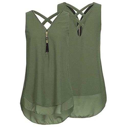 Femmes Solide Tank Tops, ❤️LMMVP ❤️ Femmes Débardeur sans Manches en Vrac Ourlet Croisé Ourlet Zippé Col en V Mousseline de Soie T-Shirt Haut (L, Mode Vert)