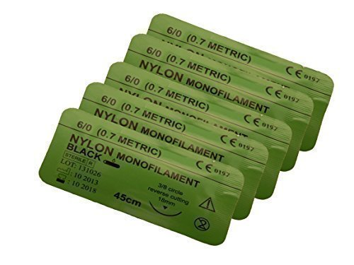 Suturing Doctor Nahtmaterial 6-0 Nylon Schwarz 5 Teile - 45cm Training Verwendung