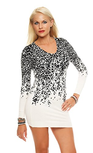 5059 Fashion4Young Damen Strick-Minikleid LongPullover Pullover Pulli Strickkleid Leoprint (L/XL, Weiß)