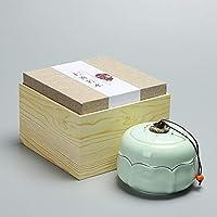 LKOBN Boîte de thé boîte de céramique Unique boîte de Cadeau Celadon Sealed Tea Warehouse Tassel Chic Conteneur Exquis, Celadon Gold 2