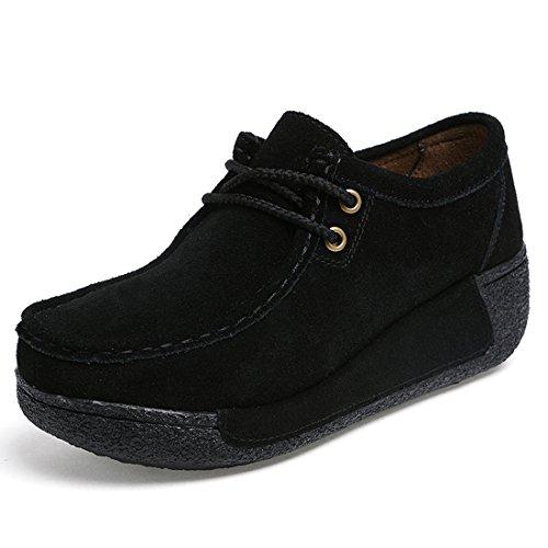Z.SUO Mujer Mocasines de Cuero Gamuza Moda Loafers Casual Zapatos39 EU,Negro