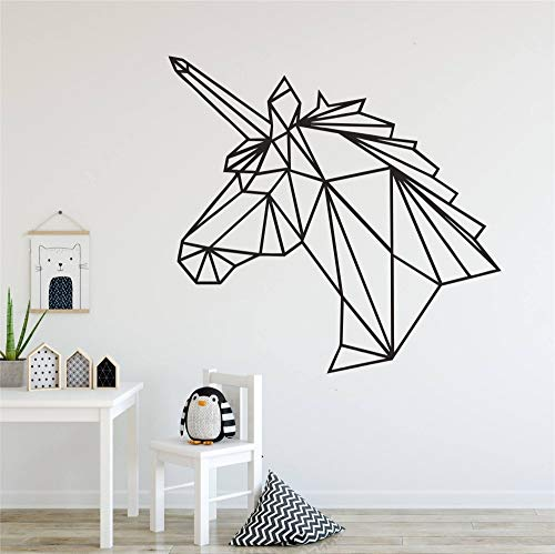 WWYJN Wall Decal Geometry Design Animal Unicorn Home Decorative Wall Decor Sticker for Nursery Kids Room Art Bedroom Decor Poste  57x57cm