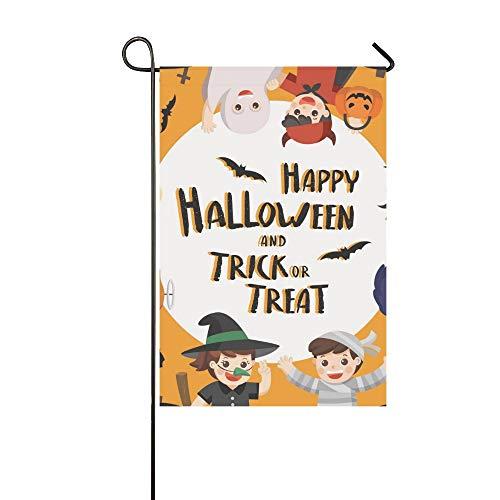 JOCHUAN Home Dekorative Outdoor Doppelseitige Kinder Gekleidet Halloween Kostüm Gehen Garten Flagge, Haus Hof Flagge, Garten Hof Dekorationen, saisonale Willkommen Outdoor (Baum Geist Kostüm)