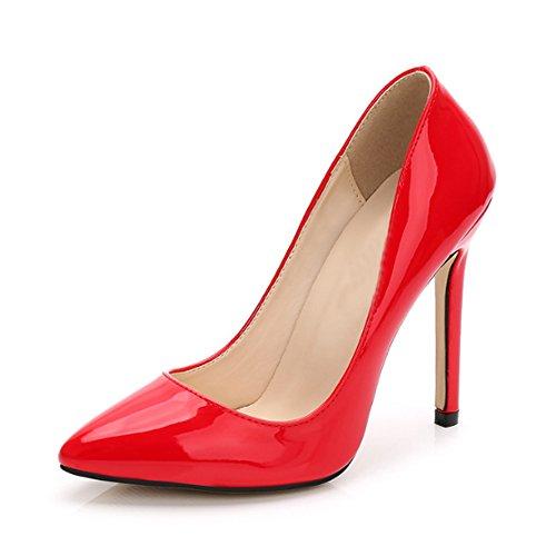 OCHENTA -11CM Zapatos de Tacón de Aguja Puntiagudo Punta Cerrada Diseño Elegante Modo para Fiesta y Boda para Mujer Rojo Asiatique 38-EU 37