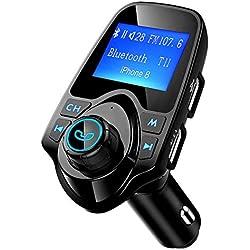 """Mpow Transmetteur FM Bluetooth Adaptateur Bluetooth Autoradio Kit Main Libre Voiture sans Fil Chargeur Allume Cigare Double Port USB Ecran de 1.44"""" Audio Port 3,5mm Support Carte TF, Clé USB"""