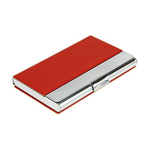 LiyingNeu Visitenkarten-Etui Vistienkartenbox Kunstleder matt Aluminium für bis zu 18 Karten Rot