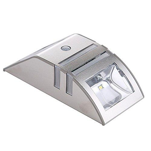 Noodei PIR Bewegungssensor Solarbetriebene Led-Beleuchtung Licht-Edelstahl Outdoor Pfad Wand Pfad Licht Garten Sicherheit Lampe for Treppe Schritt Hof 1 stücke (Größe : Warmweiß)