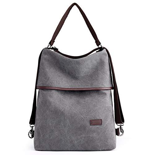 COOFIT Damen Schultertasche, Canvas Tasche Damen Handtasche Vintage Rucksack Umhängentasche Anti Diebstahl Tasche für Alltag Büro Schule Ausflug Einkauf
