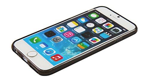 Luxburg® Glaze Design Schutzhülle für Apple iPhone 6 in Farbe Iris Violett / Lila, Hülle Case aus TPU Silikon Perlschwarz / Grau