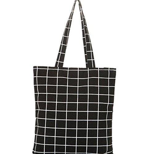 Lubier Double Sac en Tissu Plaid en Tissu Faite à la Main en Coton et Lin Sac Sac à Main Sac à Bandoulière Décontracté Menottes Ladies Bag Art Ventilateur Noir Noir