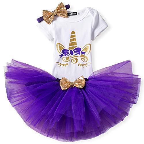 Kleinkind Mädchen Einhorn-Regenbogen Tutu Kleid 3Pcs Outfits Romper + Rock + Stirnband Größe (80) 9-18 Monate Lila (13 Kleider Größe)