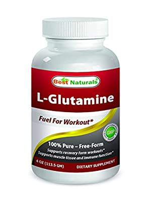 L-Glutamine Powder 4 OZ by Best Naturals - 100% Pure - Free Form - Fuel for Work out* from Best Naturals